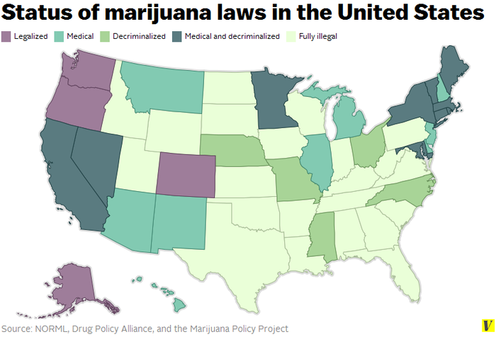 The Votes Are IN Prohibition On The Way OUT - Us marijuana map 2015